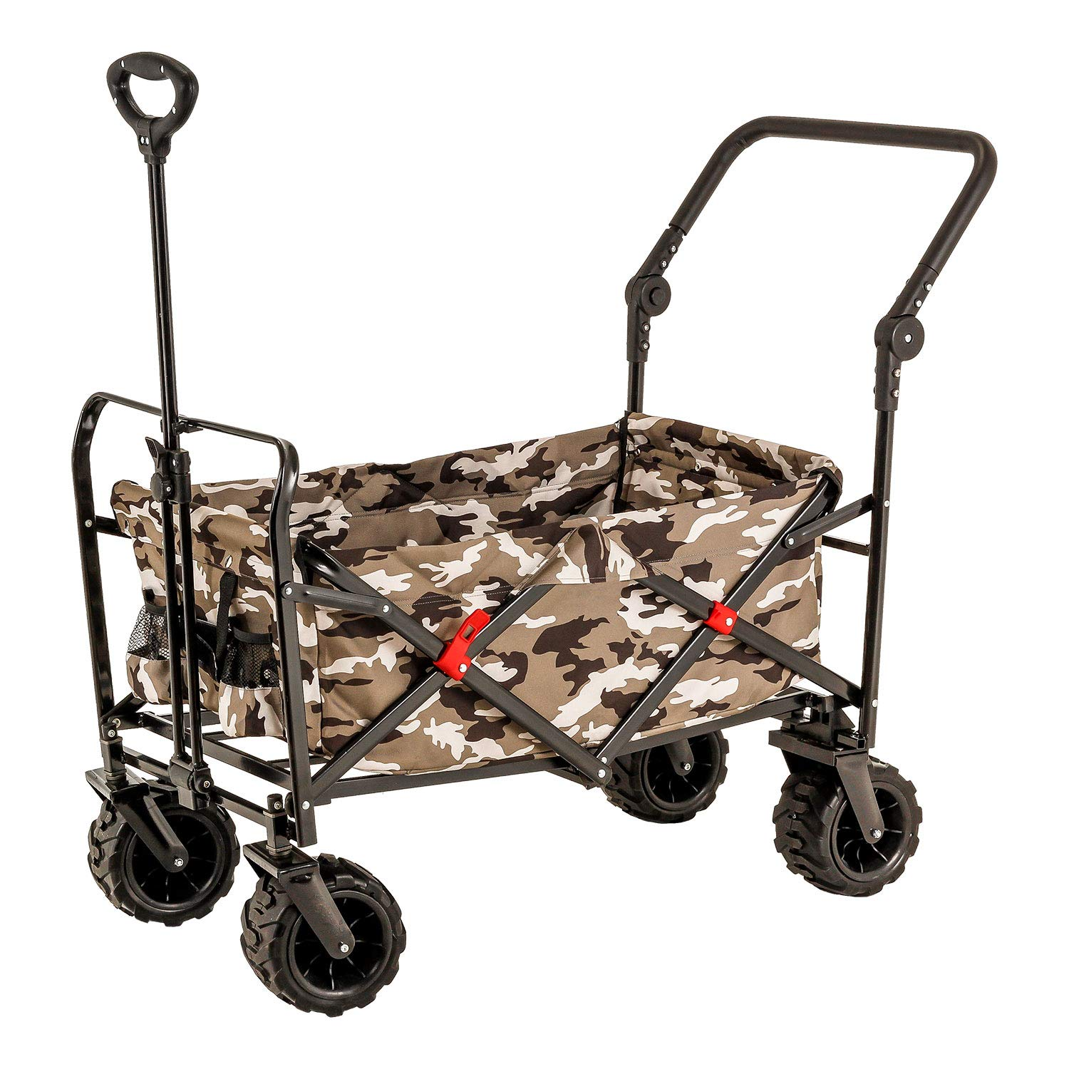 Camouflage Wide Wheel Wagon All Terrain Folding Collapsible Utility Wagon with Push Bar - Portable Rolling Heavy Duty 265 Lb Capacity Canvas Fabric Cart Buggy - Beach, Garden, Sporting Events, Picnic by TCP Global