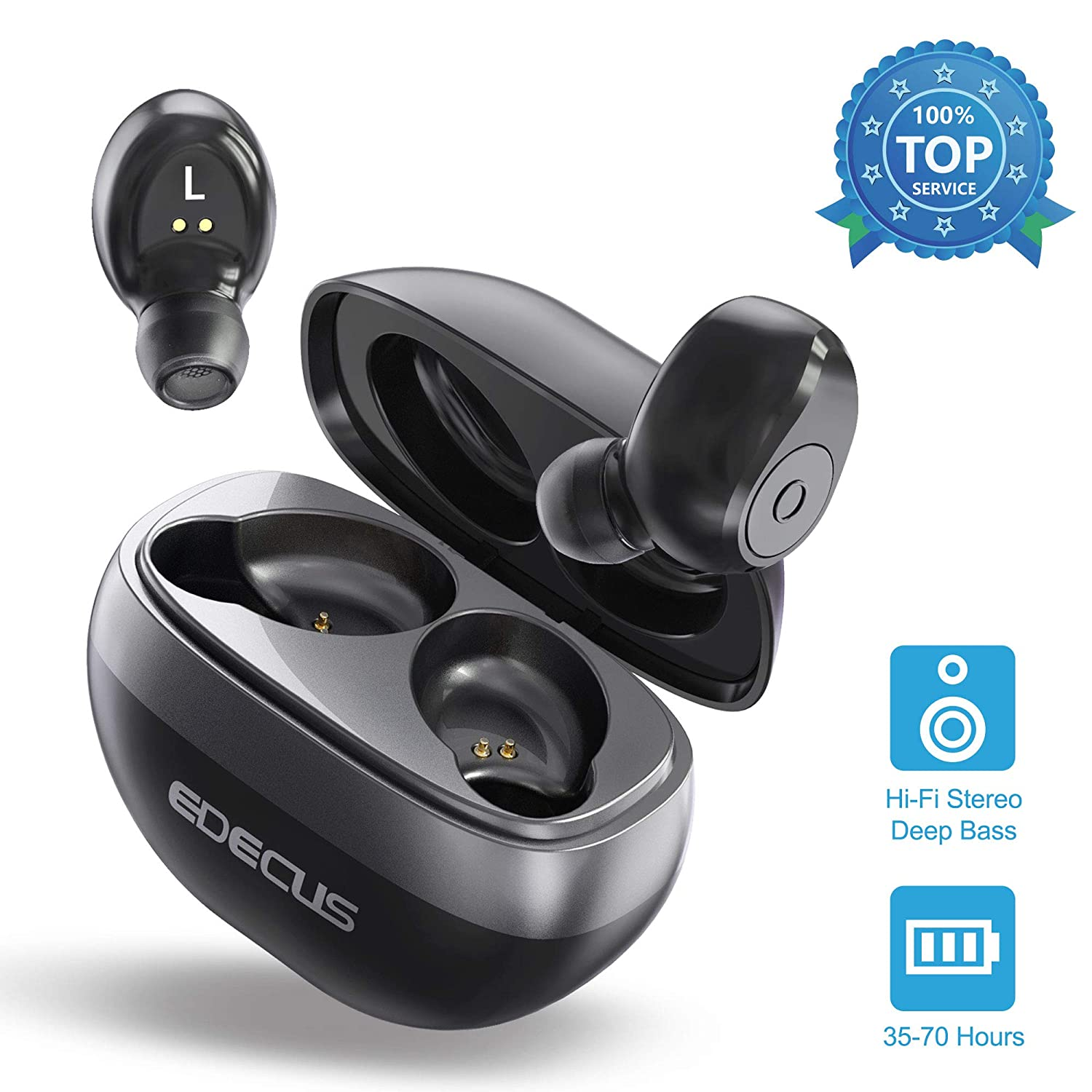 Wireless Earbuds, EDECUS TE1 Bluetooth Earbuds with 35H Playtime, Bluetooth 5.0 Hi-Fi Bass Stereo, Noise Canceling Wireless Headphones, Built-in Mic Sweatproof Bluetooth Headphones with Charging Case