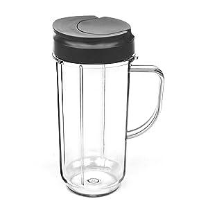 ELEFOCUS 22 OZ Tall Mug cup with Flip Top To-go Lid for Magic Bullet 250W Blender Juicer