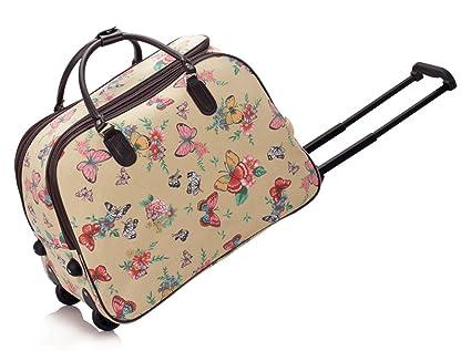 LeahWard® Grete Taille Sac Dee Voyage Bagages Sac De Voyage Avec roue (Cream London Bear) VnkAxz