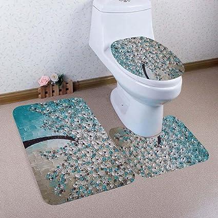 Amazon Com Bathroom Toilet Mats 3 Set Tree Print Non Slip Pedestal