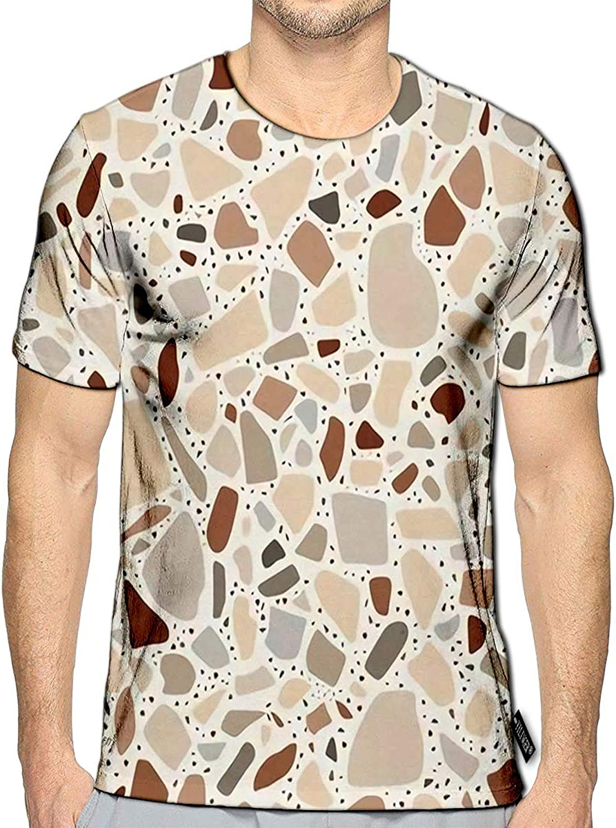 YILINGER T-Shirt 3D Printed Terrazzo Style Abstract Stone Floor Texture Casual Tees