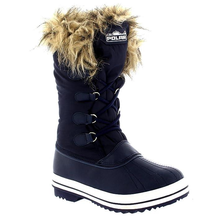 Womens Nylon Warm Trim Duck Snow Waterproof Outdoor Tall Winter Rain Boots  - 10 - NAV43 YC0115: Amazon.co.uk: Shoes & Bags