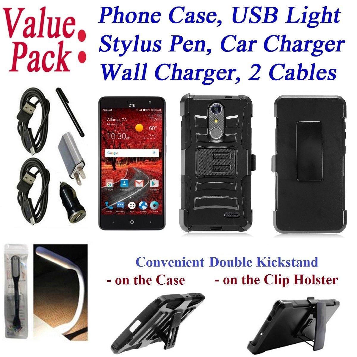 Value Pack + for 5.5'' ZTE Blade Spark ZMAX ONE Grand X4 Case Phone Case Belt Clip Holster Double Kick Stands Hybrid Biking Bumper Cover (Black)