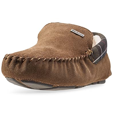 e729c08bb3f3 Barbour Mens Monty Moccasin Suede Fur Lined Slipper Slip On Shoes - Camel -  7.5-