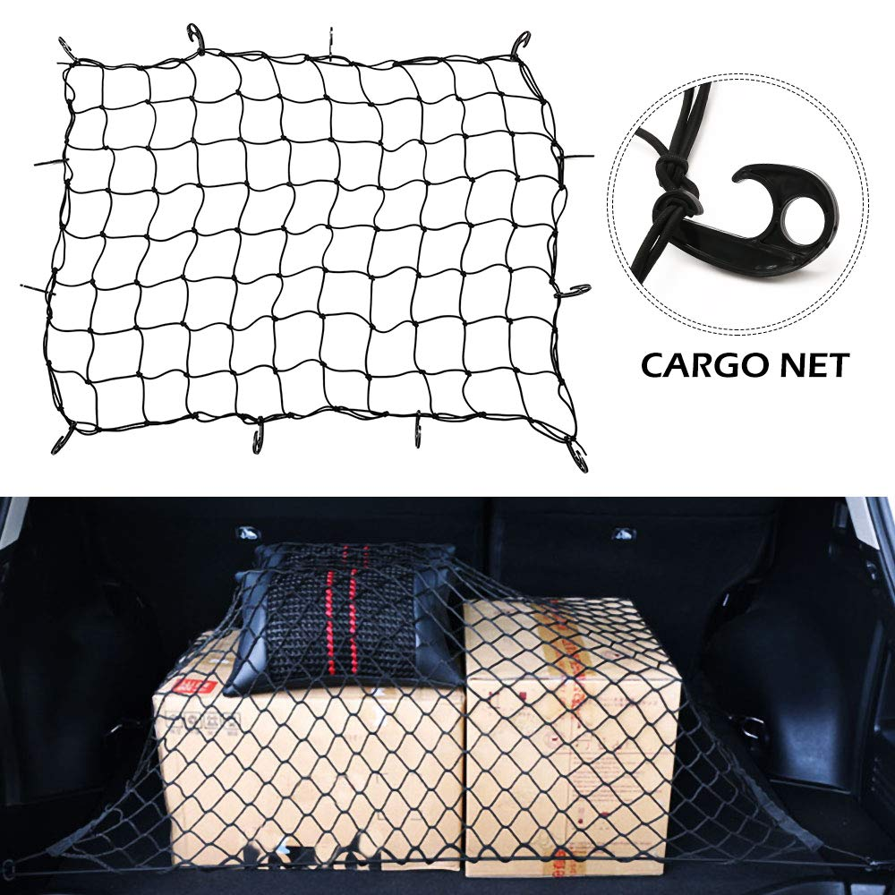 summerkimy Cargo Net Heavy Duty Bungee Universal Car Trunk Net Bed Bag Storage Rear Mesh Organizer with 12pcs Carabiners 3x4 to 6x8 Black