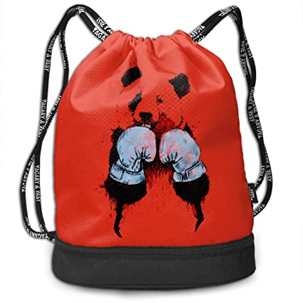 978fe241a9 Image Unavailable. Image not available for. Color  LANGEGE Panda Boxing  Outdoor Bundle Backpack Drawstring Backpack Bags Pack Travel Sport Gym ...