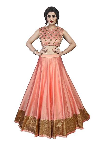 9117658233 sakariya brothers Women's Satin Lehenga Choli (SB-212 _Peach_ Free Size):  Amazon.in: Clothing & Accessories
