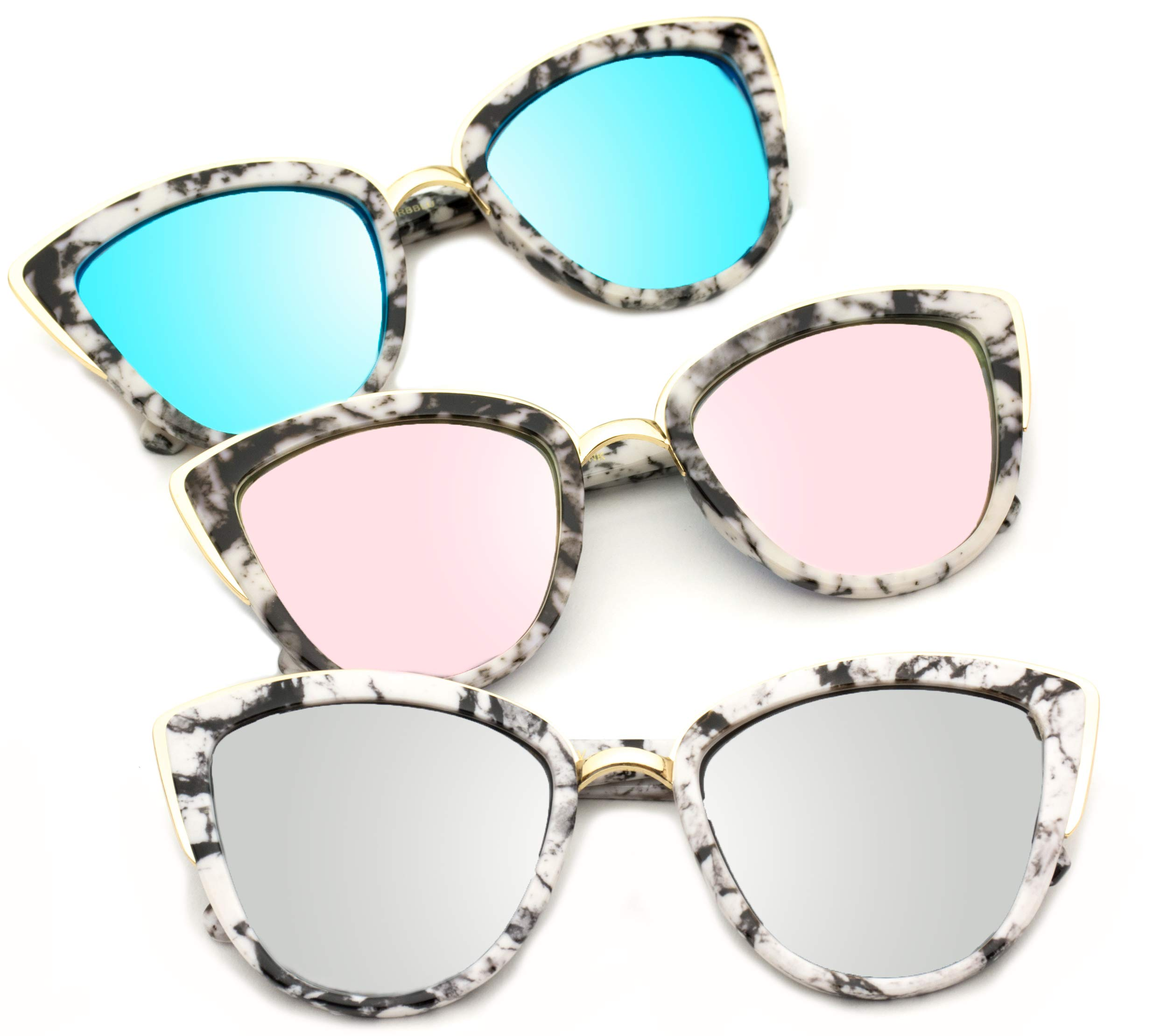 Womens Cat Eye Mirrored Revo Reflective Lenses Oversized Cateyes Sunglasses (Box: Mirror Purple/Mirror Blue/Mirror Silver, 54) by WearMe Pro (Image #2)