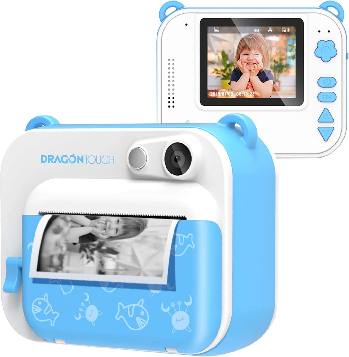 Dragon Touch InstantFun Instant Print Camera for Kids, Zero Ink Toy Camera with PrintPaper, CartoonSticker, ColorPencils, Portable Digital Creative Print Camera for Boys and Girls - Blue