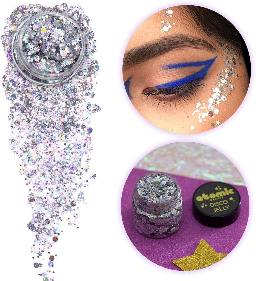 Purpurina corporal para maquillaje atómico, vegana y sin crueldad, el túnel (plata), purpurina para cara, pelo, festivales, raves, disfraces: Amazon.es: Belleza