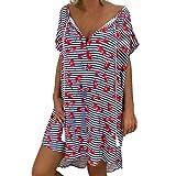 Women's Short Sleeve Cherry Stripe Printed Dresses AmyDong Ladies Loose Mini Summer Large Dress