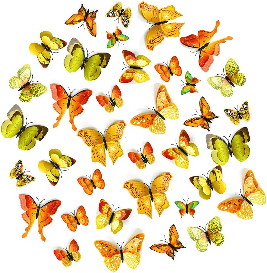 36pcs 3D Butterfly Wall Stickers Decor, Double Wings Fake Butterflys for Kids Bedroom Wedding Party Decorations, with Magnets & Dot Glue Stickers (Yellow)