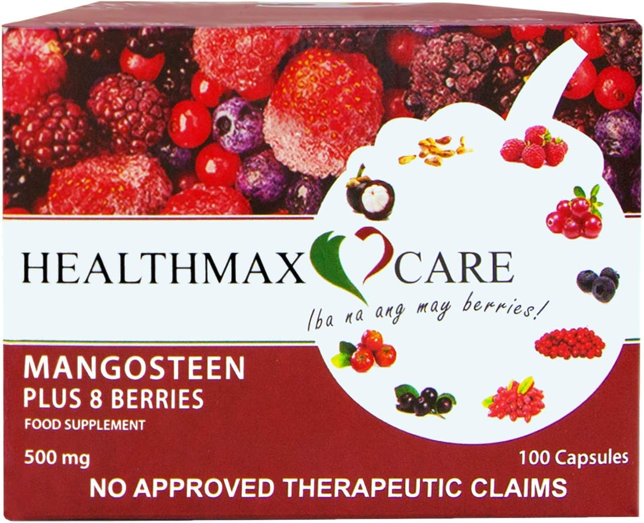Healthmax Care Mangosteen Plus 8 Berries Food Supplement 500mg, Non-GMO, Promotes A Healthy Heart, Improves Digestion, Supports Cardiovascular, Antioxidant, Immune Booster, 100 VegCaps