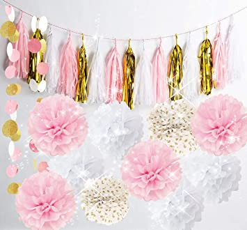 Amazoncom Qians Party Baby Pink Gold White Baby Shower