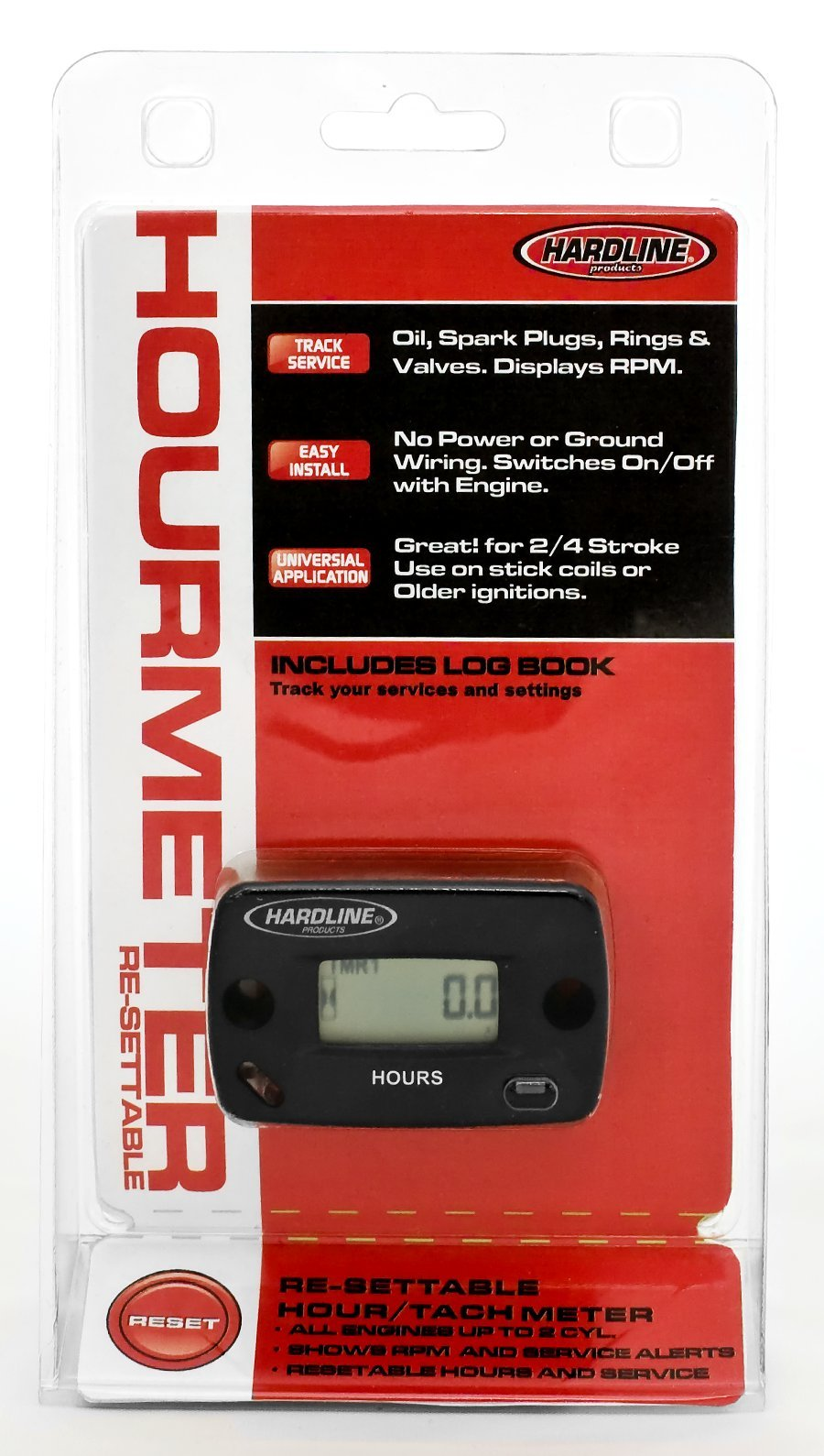 Hardline Products HR-8067-2 Re-Settable Hour Meter with Tachometer by Hardline Products
