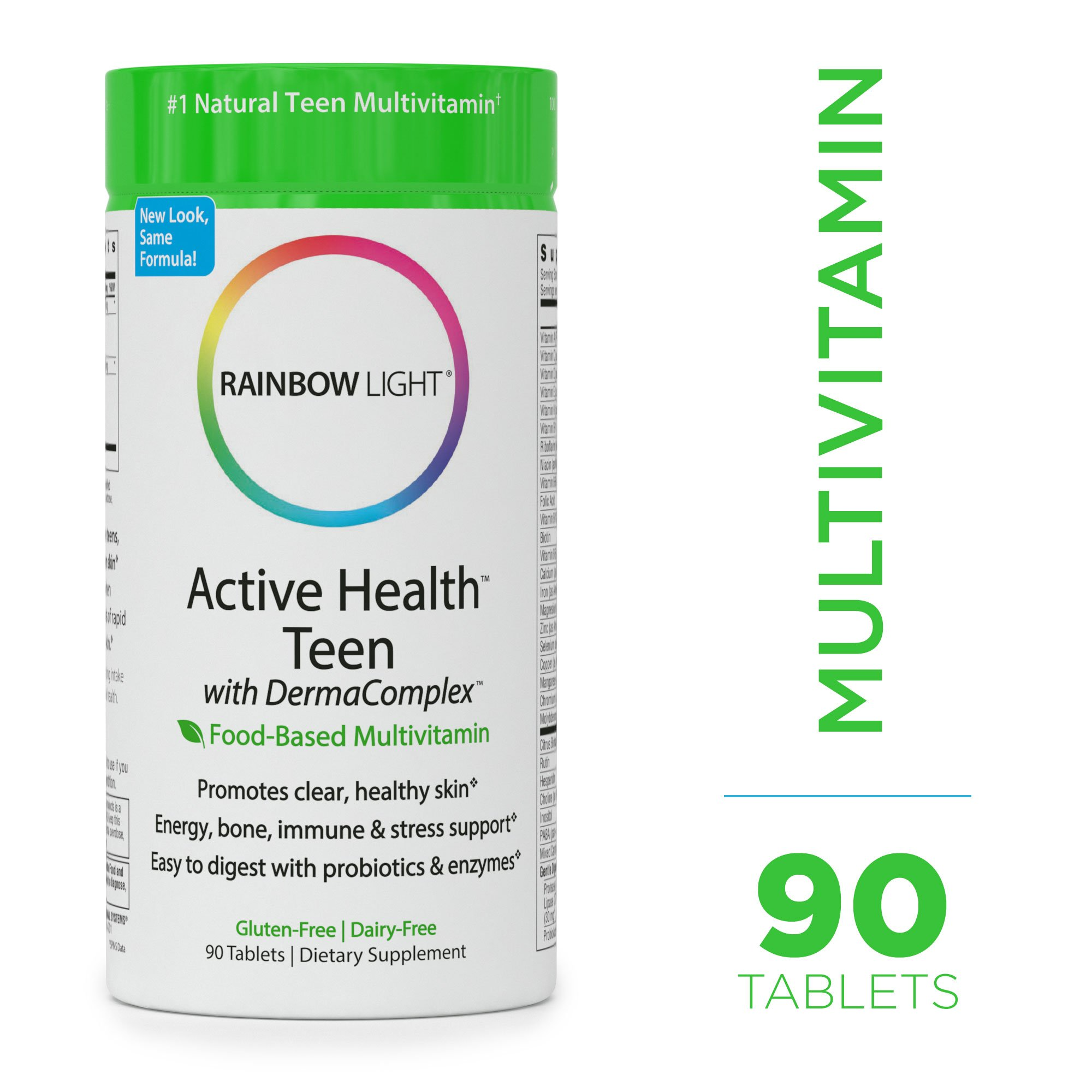 Rainbow Light - Active Health Teen Multivitamin with DermaComplex - Provides Vitamins and Nutrients; Supports Nutrition, Natural Energy, Mood, Brain Health, and Immune System in Teens - 90 Tablets