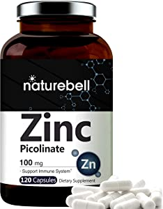 Maximum Strength Zinc 100mg, Zinc Picolinate Supplement, 120 Capsules, Zinc Vitamin and Immune Vitamins for Enzyme Function and Immune Support, Non-GMO and Made in USA