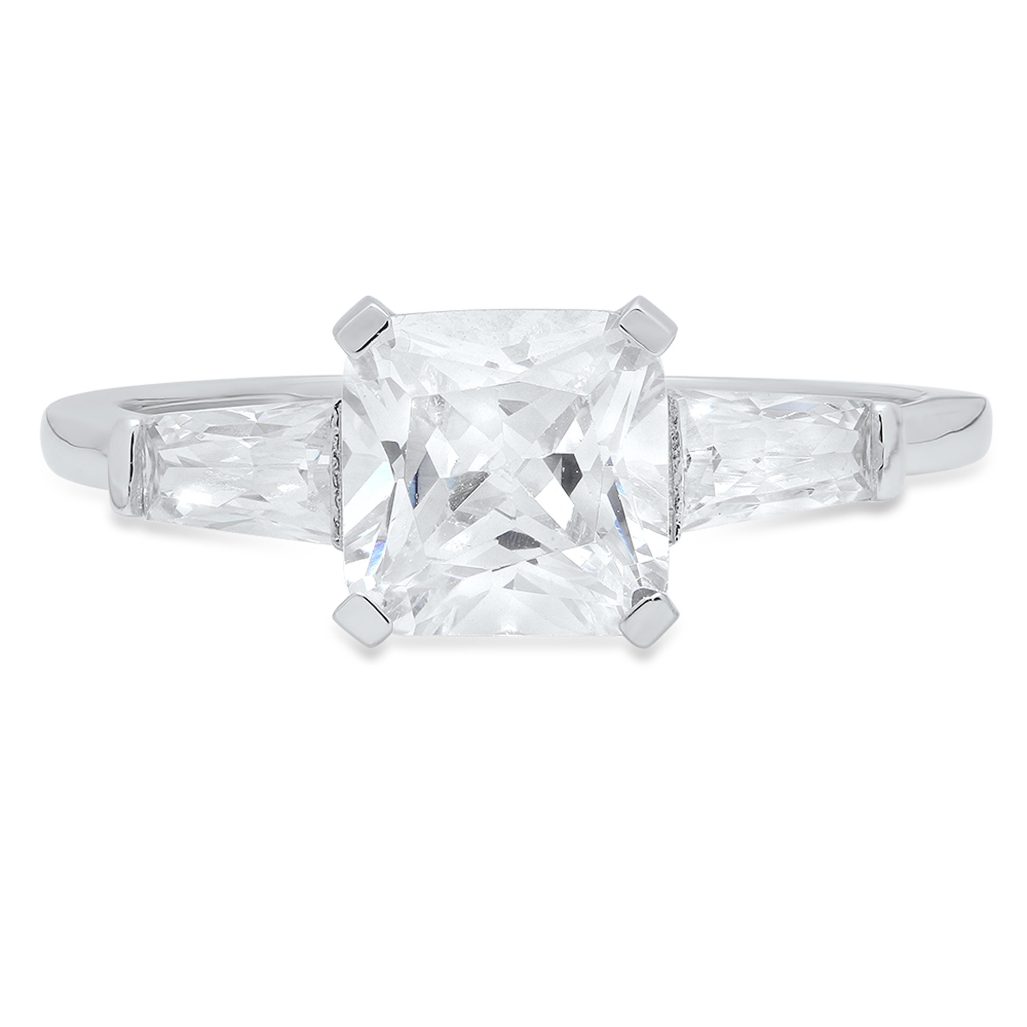 Clara Pucci Square Emerald&Baguette Cut Solitaire 3-Stone Engagement Wedding Promise Ring 14K White Gold, 1.47CT, Size 11