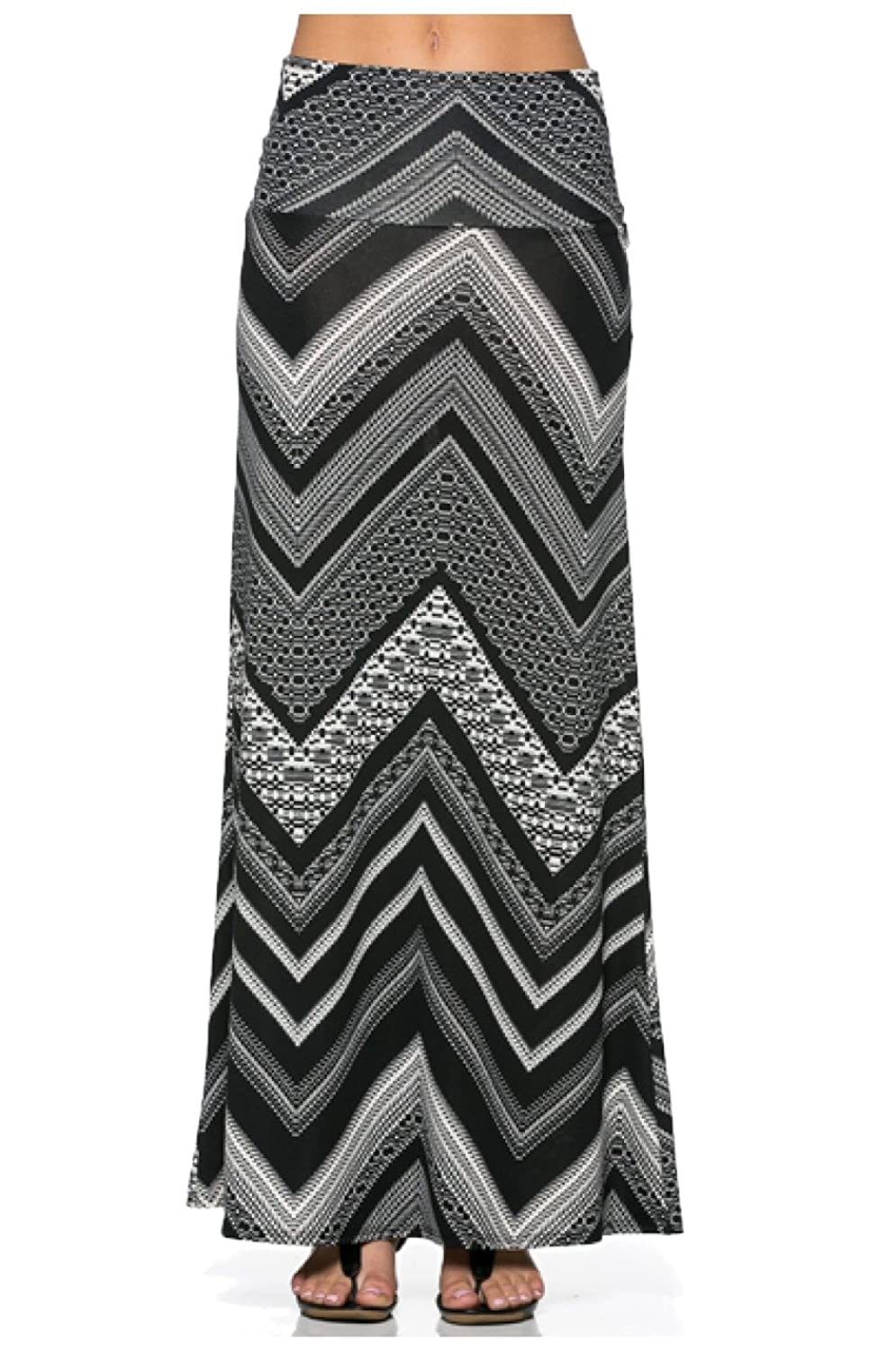 2LUV Women's Solid & Printed Floor Length Maxi Skirt