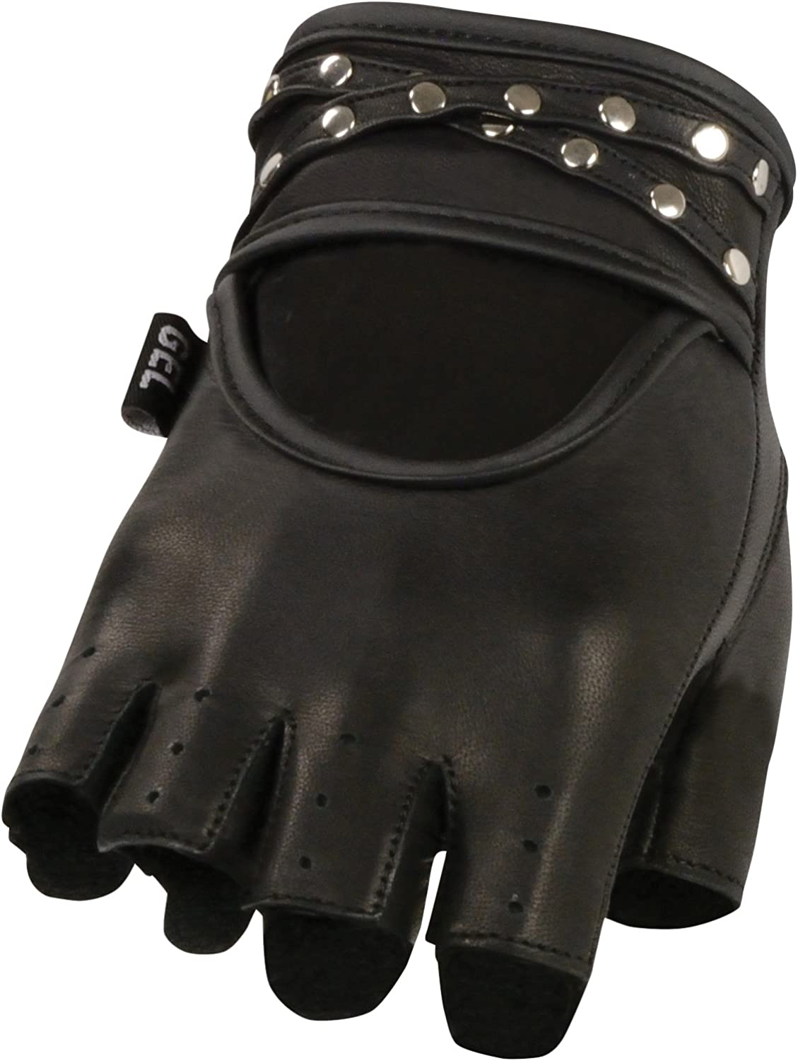 Milwaukee Leather SH211 Mens Studded Black Leather Fingerless Glove with Padded Palms