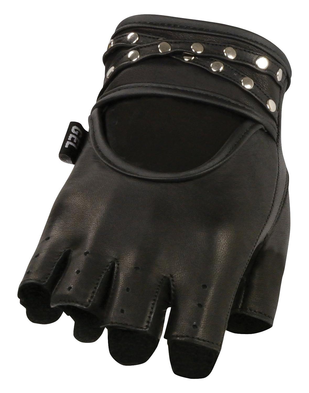 Black, Small Shaf International Womens Studded Fingerless Glove with Gel