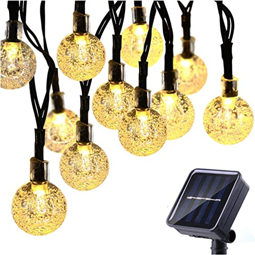 BeeFly Solar String Lights Outdoor, 30ft 50 LED 8 Modes Crystal Balls Waterproof Globe Solar Powered Fairy String Lights for Christmas Garden Yard Home Patio Wedding Party Holiday Decoration