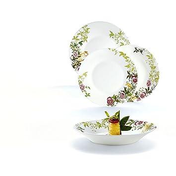 5b98501f9ab901 Luminarc Latone Service de table 18 pièces   6 personnes   Vaisselle Sets  Arcopal blanc fleurs
