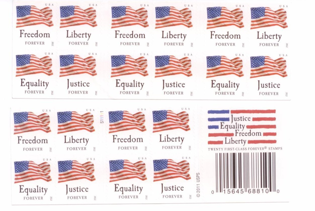 Usps forever stamps four flags booklet of 20 postage for Usps letter stamp
