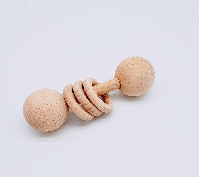 Sonajero de madera natural para bebés, complemento para la cesta de los tesoros, regalo recien nacido