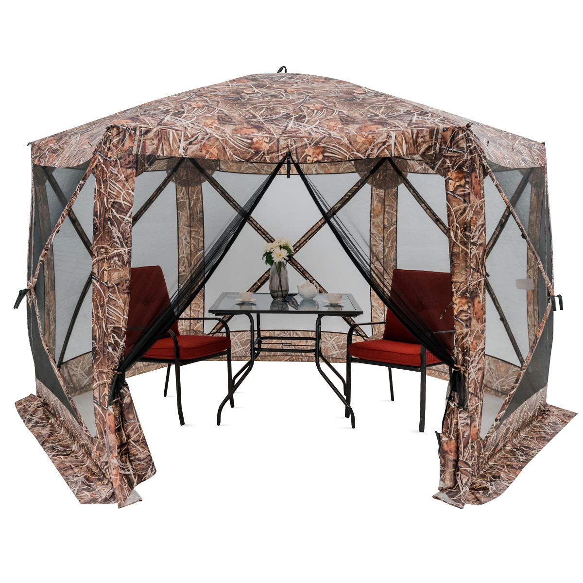 HAPPYGRILL 140 x 140 Outdoor Patio Canopy Portable Pop up Gazebo, Large Screen Tent Bug Rain Protection, Camouflage