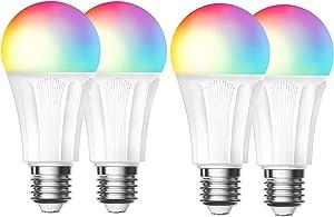 Smart Light Bulb ESICOO, Smart Light Bulb, led Bulb, Smart Llight, Compatible with Alexa Google Home IFTTT, Dimmable 60W Equivalent Lamp Bulb RGBW (4 Pack 9W)