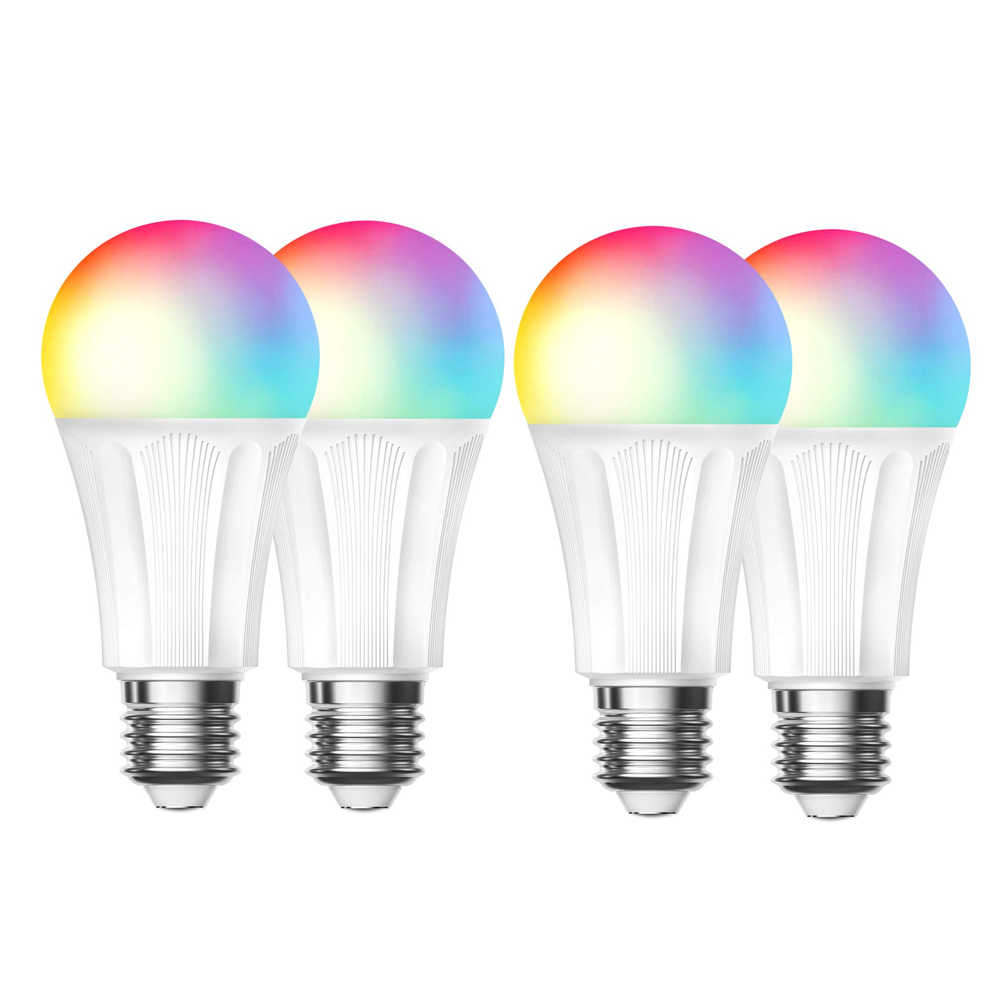 Smart LED Bulb,Wi-Fi Light Bulb Compatible with Alexa Google Home IFTTT, Dimmable 60W Equivalent Lamp Bulb RGBW,810 Lumens by Esicoo 4 Pack 9W