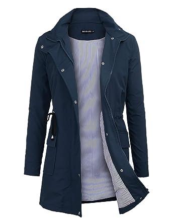 59f1577aeee bosbary Women s Rain Jacket Windbreaker Raincoats Waterproof Lightweight Outdoor  Hooded Trench Coats Navy Blue