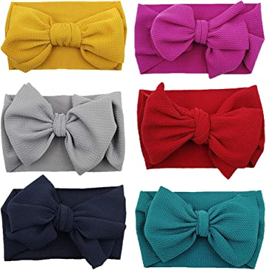 N A 6Pcs Baby Nylon Headbands Elastic Turban Headwraps Knotted Bows Hairbands for Newborn Infant Toddlers Girl
