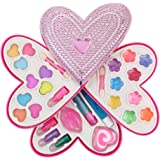 Petite Girls Heart Shaped Cosmetics Play Set - Fashion Makeup Kit for Kids