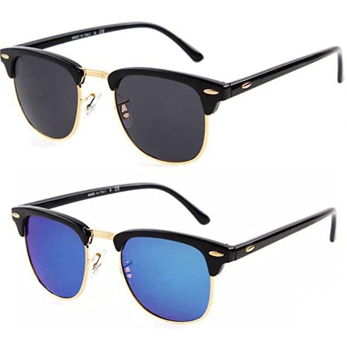 8b3758524d3 Dervin Wayfarer Black Blue Polycarbonate Sunglasses for Men and Women  -Combo Set of 2  Amazon.in  Clothing   Accessories