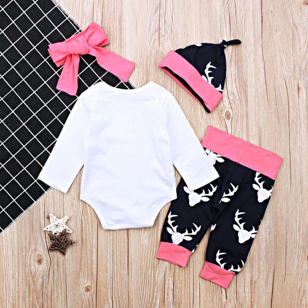Age: 0-3 Months TM Jchen for 0-18 Months Fashion Newborn Infant Baby Girl Letter Little Sister Arrow Print Long Sleeve Tops+Deer Print Pants+Headband+Hat Outfits 4PCS Summer Autumn Clothes Set