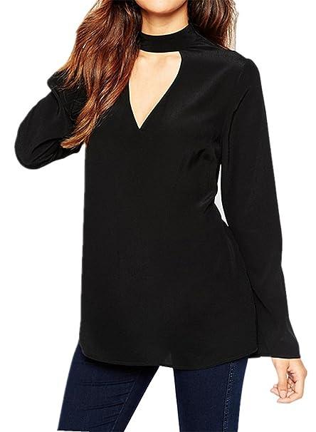 Moda Vintage Estilo Cuello Alto Subido Choker Cuello en V de Pico Chifón Blusón Blusa Shirt