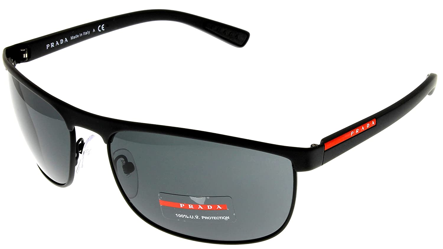 8f3644fa76e Amazon.com  Prada Sunglasses Men Black Rectangular 100% UV Protection  PS54QS DG01A1  Clothing