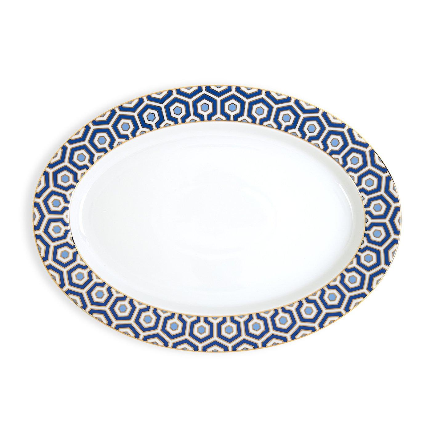 Jonathan Adler 21974 Newport Oval Platter, Blue