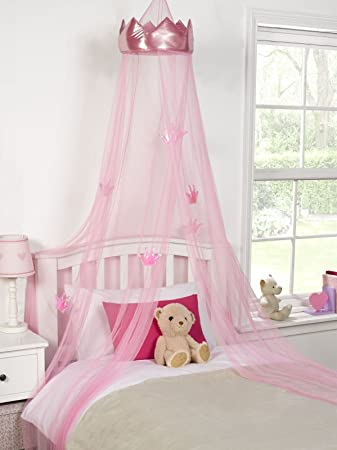 Ideal Textiles Pink Princess Crown Bedroom Bed Canopy Girls Bedroom Makeover 30cmx230cm by & Ideal Textiles Pink Princess Crown Bedroom Bed Canopy Girls ...