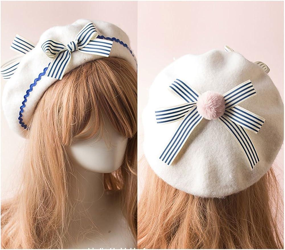 BLESSI Fashion Wool Bowknot Beret Hats Pink Elegant Warm Soft Lolita Cap with Bow