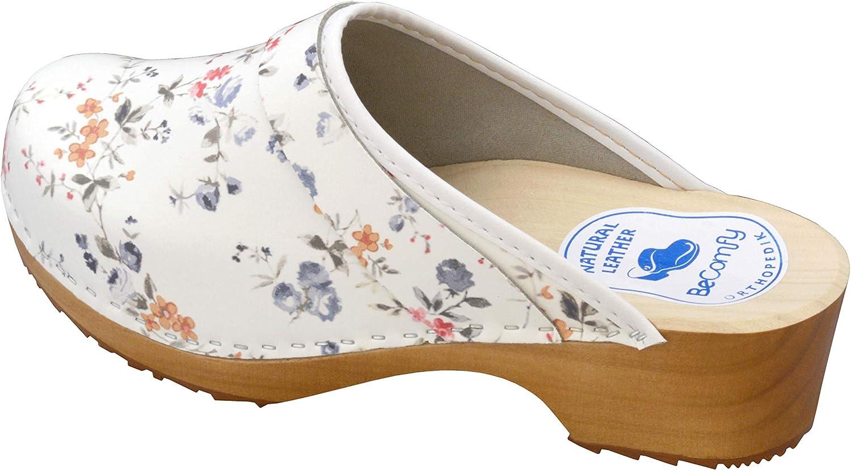 BeComfy - Zuecos de Madera con Cuero para Mujeres - Zapatos para el Trabajo - Suela Reforzada con una Capa de Goma Elástica - Blanco, Negro, Azul Marino, Flores