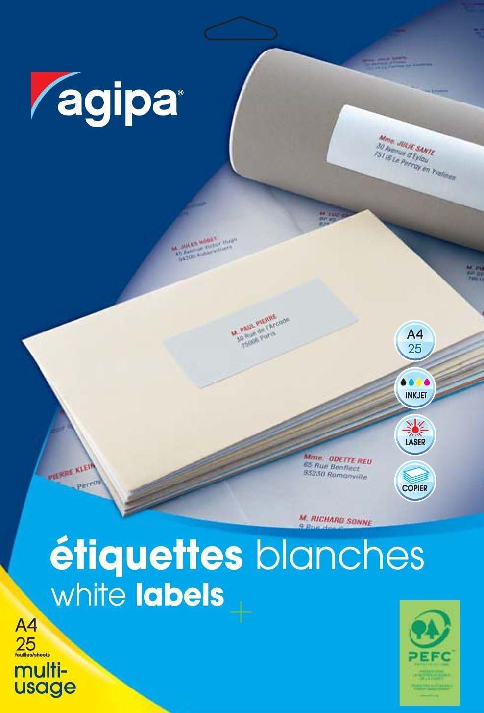 Apli 119608  Pochette de 250 Etiquettes multi-usage A4 100 x 50 mm
