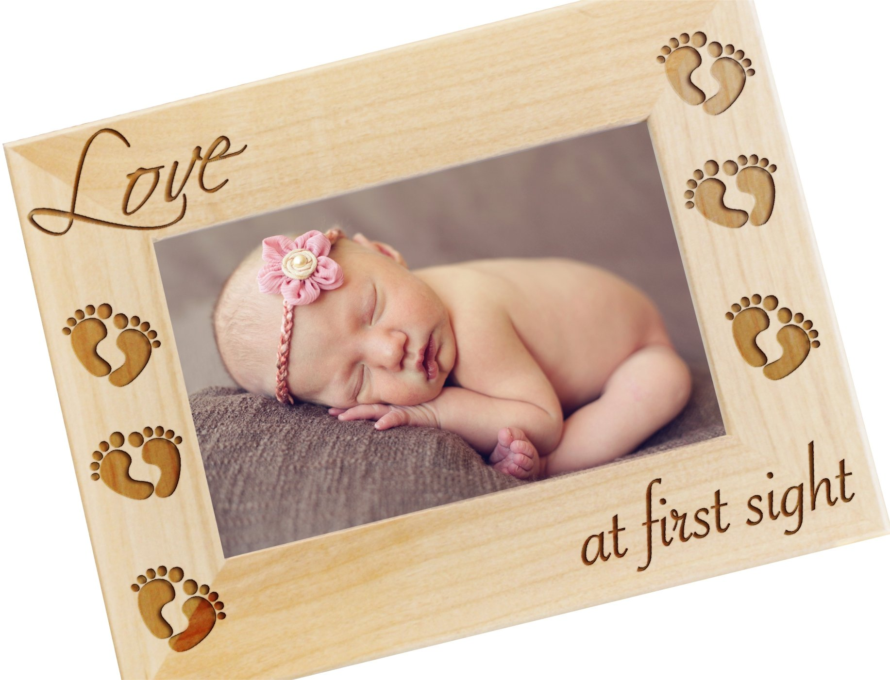 Frederick Engraving Love at First Sight, Newborn Picture Frame, 4x6 Wood Photo Frame - New Baby Gifts, Newborn Photography Props - WF30.NC