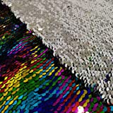 Pardecor Mermaid Fabric 2 Yard Long Sequin Fabric by The Yard Glitter Fabric Reversible Sequin Fabric Two Tone Sequin Fabric