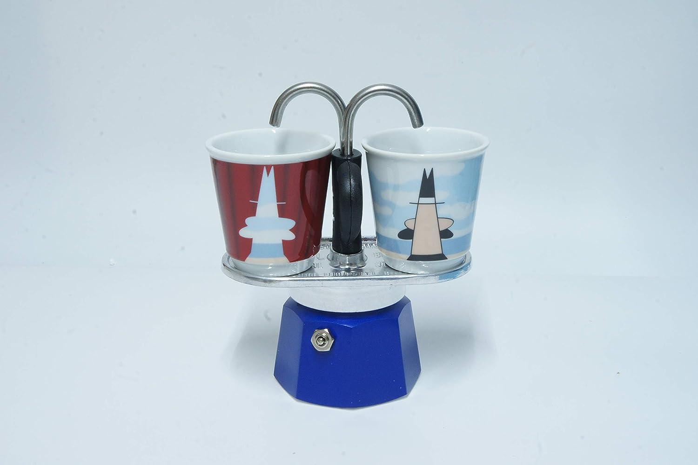 Bialetti Mini Express - Cafetera de color azul + 2 vasos: Amazon.es: Hogar