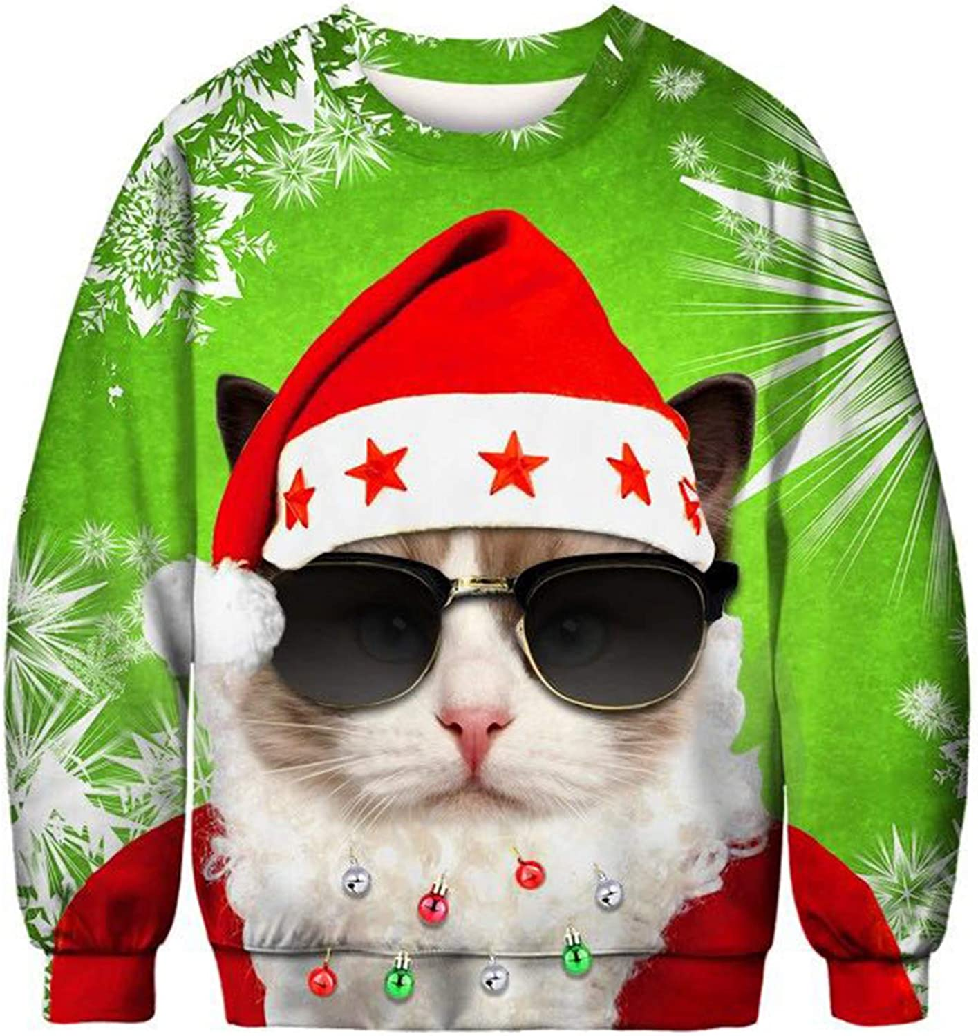 Unisex Funny Christmas Sweatshirt Sweater Novelty 3D Printed Men Women Funny Xmas Plus Size Party Sweater Pullover …: Clothing