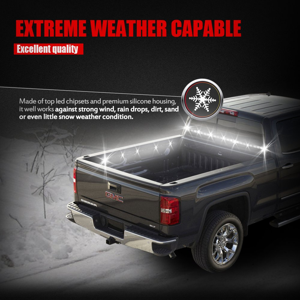 Mictuning 2pcs 60 White Led Cargo Truck Bed Light Strip Lamp 2 Way Switch For Car Waterproof Lighting Kit With On Off Fuse